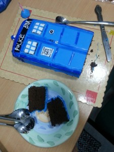 Oh no. We're eating chunks of the TARDIS.